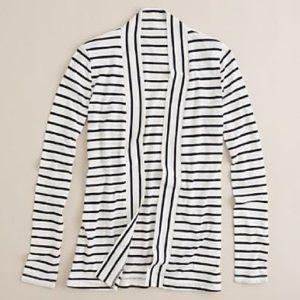 J. Crew Sailor Striped Always Cardigan in White